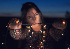 Lux del sujetando de Chica Foto de archivo libre de regalías