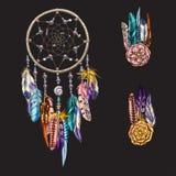 Luxary περίκομψο Dreamcatcher με τα φτερά, πολύτιμοι λίθοι Αστρολογία, πνευματικότητα, μαγικό σύμβολο Εθνικό φυλετικό στοιχείο ελεύθερη απεικόνιση δικαιώματος