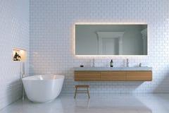 Luxe binnenlandse badkamers met bakstenen muren 3d geef terug Stock Afbeeldingen
