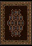 Luxe bont tapijt met heldere ornamenten op bruin centrum Royalty-vrije Stock Afbeeldingen