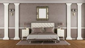 Luxe bruine hoofdslaapkamer Stock Fotografie