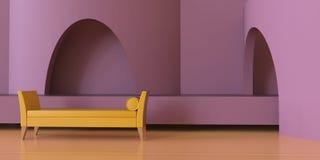 Luxe de vivre le secteur contemporain et le monochrome rose pourpre sur le plancher en bois/architectural moderne illustration de vecteur
