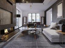Luxe duplex zolder-stijl flat, eigentijdse meubilair en bakstenen muren met ontwerperopen haard in binnenlands, binnenlands vector illustratie