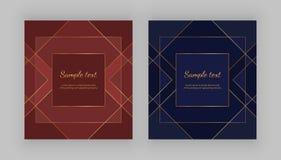 Luxe geometrisch ontwerp Gouden lijnen op de rode, blauwe achtergrond Moderne malplaatjes voor productpakket, menu, banner, kaart royalty-vrije illustratie