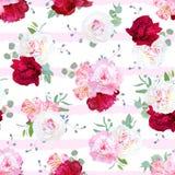 Luxe gestreepte bloemen naadloze vectordruk met pioen, alstroem Stock Foto