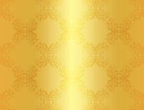 Luxe gouden achtergrond met damast bloemengeklets Stock Afbeeldingen