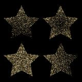 Luxe gouden sterren op zwarte, gouden schitterende achtergrond Stock Afbeelding