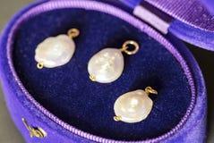 Luxe grote parels in een purper en blauw juwelengeval stock foto's