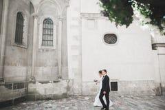 Luxe het gehuwde van de van de huwelijkspaar, bruid en bruidegom stellen in oude stad royalty-vrije stock afbeelding