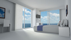 Luxe hotelroom in moderne ontworpen stijl Stock Afbeelding