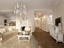 Luxe klassiek binnenland van eetkamer, keuken en woonkamer Royalty-vrije Stock Foto's