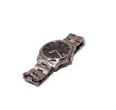 Luxe klassiek die horloge op witte achtergrond wordt geïsoleerd Stock Foto's