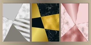 Luxe Marmeren die Dekking met Geometrische Elementen wordt geplaatst Royalty-vrije Illustratie