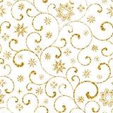 Luxe naadloos patroon met gouden werveling en sneeuwvlokken op een witte achtergrond royalty-vrije illustratie