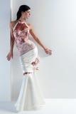 Luxe panna młoda w dopasowanie sukni Obraz Stock