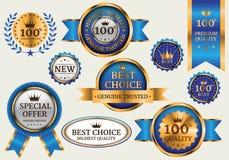 Luxe réglé de collection bleue de bannière d'or sur le vecteur gris de fond illustration stock