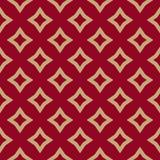 Luxe rood en gouden vector geometrisch naadloos patroon met ruiten, diamanten stock illustratie