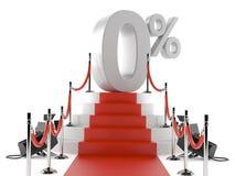 Luxe rood tapijt met barrière en nul percenten Royalty-vrije Stock Afbeelding