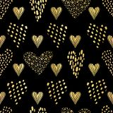 Luxe schwarze Goldliebes-Herzen besprüht Beschaffenheits-Muster, nahtlosen Vektor stock abbildung