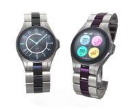 Luxe slimme horloges op witte achtergrond stock illustratie