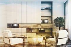 Luxe wit bureau, wit leunstoelendubbel Stock Afbeelding