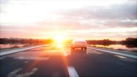 Luxe witte auto op weg, weg Zeer snel drijvend Wonderfullzonsondergang Reis en motivatieconcept het 3d teruggeven Stock Fotografie