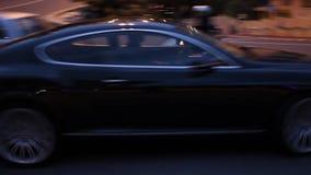 Luxe Zwart Bentley Continental in Monte Carlo, Monaco stock footage