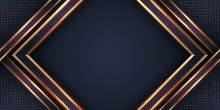 Luxe zwarte achtergrond met combinatie gloeien gouden met 3D stijl Abstracte zwarte papercut geweven achtergrond met het glanzen royalty-vrije illustratie