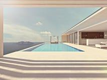 Luxe zwembad de kleur geeft uit het 3d teruggeven Stock Foto's