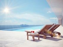 Luxe zwembad de kleur geeft uit het 3d teruggeven Stock Foto