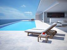 Luxe zwembad het 3d teruggeven Stock Afbeeldingen
