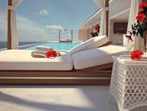 Luxe zwembad met hibiscusbloem de kleur geeft uit het 3d teruggeven Royalty-vrije Stock Foto's