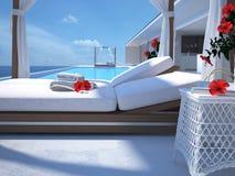 Luxe zwembad met hibiscusbloem het 3d teruggeven Stock Foto's