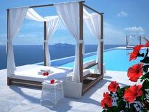 Luxe zwembad met hibiscusbloem het 3d teruggeven Stock Fotografie