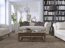 Luxebank in klassieke woonkamer met bibliotheek royalty-vrije illustratie