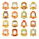 Luxeetiketten met gouden linten voor uw ontwerp Royalty-vrije Stock Afbeeldingen