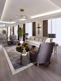 Luxeflats in het hotel met een woonkamer en een eetkamer, bank, bed, TV-tribune, eettafel, klassiek binnenland met wit stock illustratie