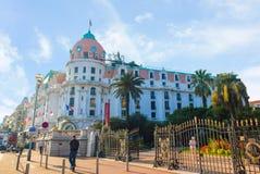 Luxehotel Negresco in Nice op Azuurblauwe kust, Frankrijk Stock Foto