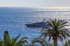 Luxejacht in het overzees en palmen dichtbij stranden van Kooi d'Azur, Frankrijk Stock Fotografie