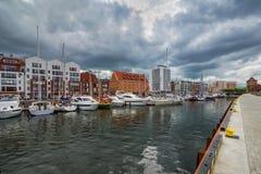 Luxejachten op het baaigebied van Gdansk, Polen, Baltische kust Stock Afbeeldingen