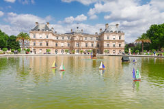 Luxembourg ыгььук garden. Luxembourg garden with large pond and boats, Paris, France royalty free stock photography