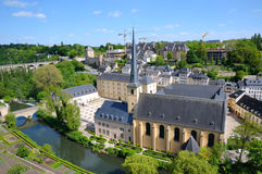 Luxembourg. Center of Luxembourg in summer view from hill Royalty Free Stock Image