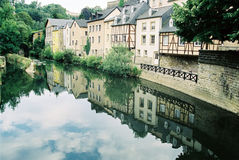 Luxembourg. Old houses near river cityscape reflection Stock Images
