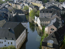 Luxembourg. View over the old part of Luxembourg situated at the river stock photo