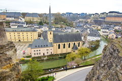 Luxembourg - aerial view of the abbey between 2 rocks Stock Photo