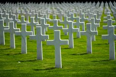 Luxembourg American Cemetery & Memorial crosses royalty free stock image