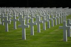 Free Luxembourg American Cemetery & Memorial Gravestone Crosses Royalty Free Stock Photos - 139586948