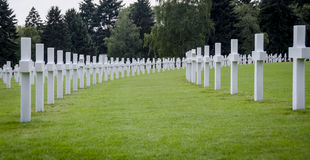 Luxembourg American Cemetery War Memorial. Rows of white headstones at the Luxembourg American war cemetery Stock Images