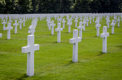 Luxembourg American Cemetery War Memorial. Rows of white headstones at the Luxembourg American war cemetery Stock Image