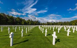LUXEMBOURG - AUG 8, 2014 -Many tourists visit the Luxembourg American Cemetery which was dedicated in 1960. Honoring fallen soldiers royalty free stock image